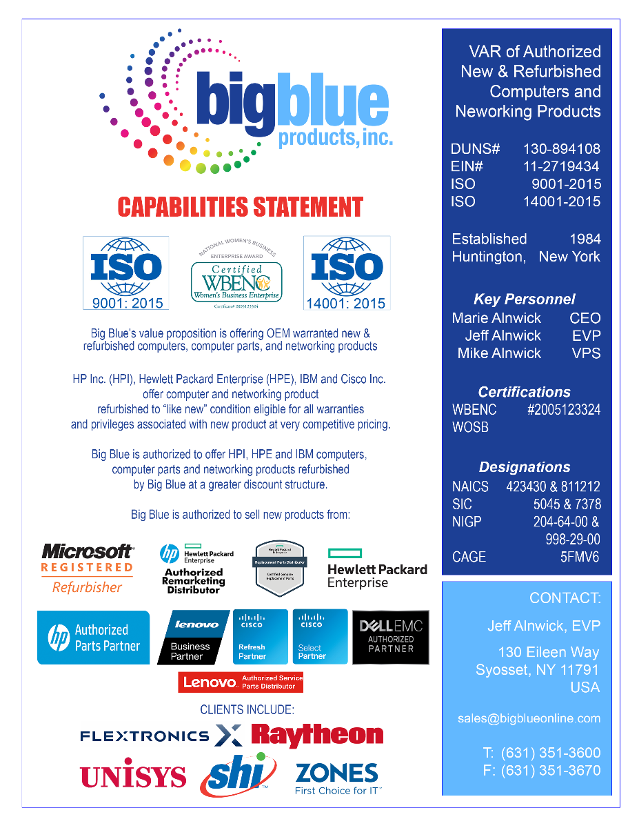 Big Blue Products - 2019 Capabilities Statement
